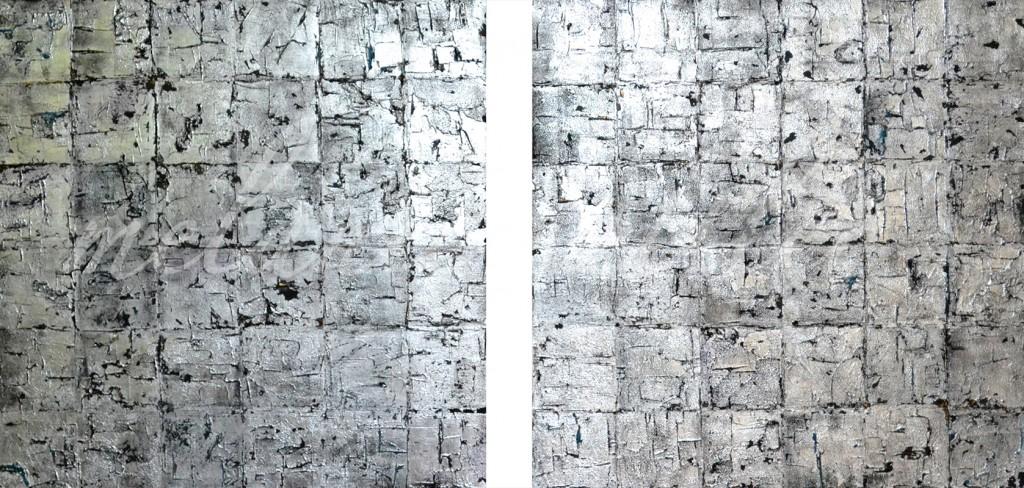 Mischtechnik auf Leinwand Duo 80 x 80 cm